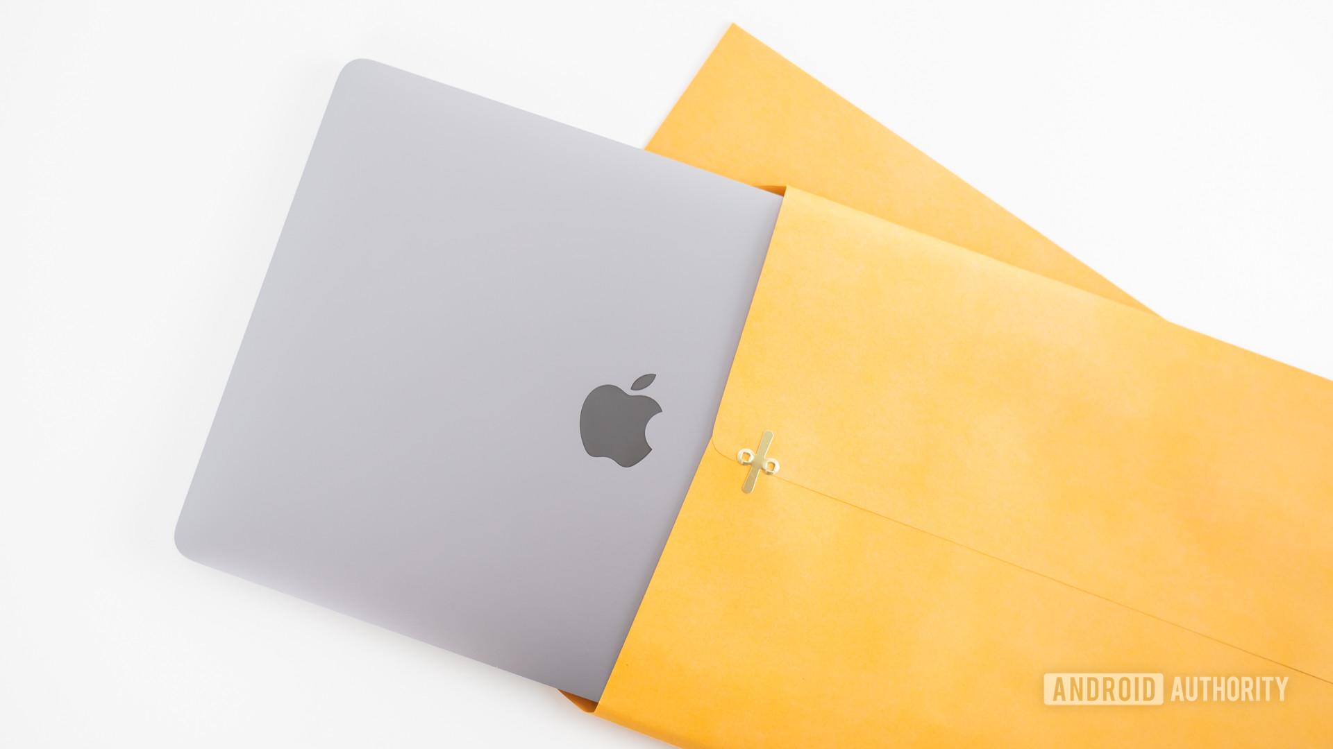 2020 MacBook Air review laptop inside manila envelope3