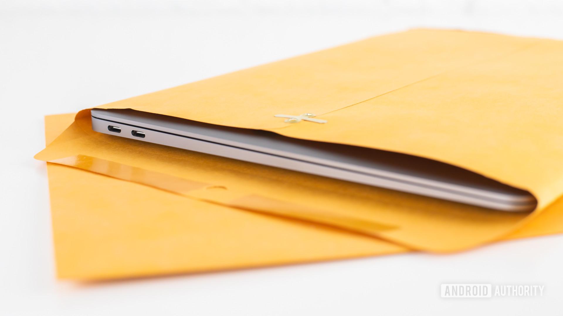 2020 MacBook Air review laptop inside manila envelope5