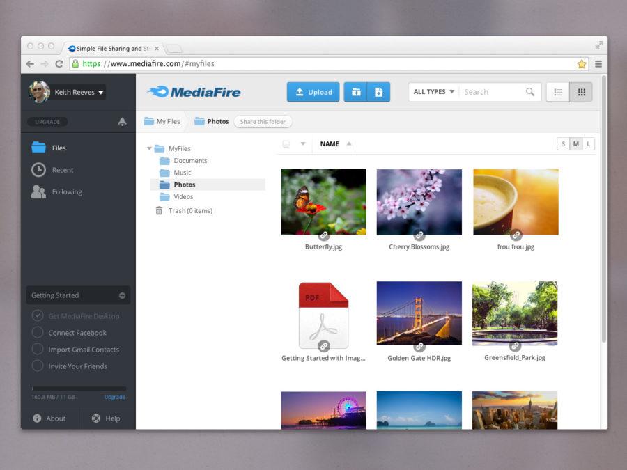 Barre d'applications et Mes fichiers mediafire