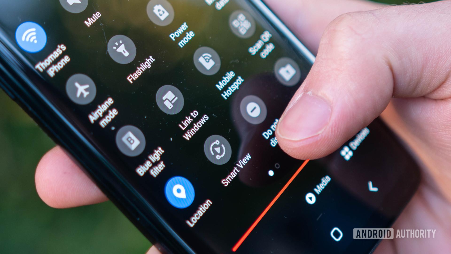 Galaxy S9 Plus Quick settings menu