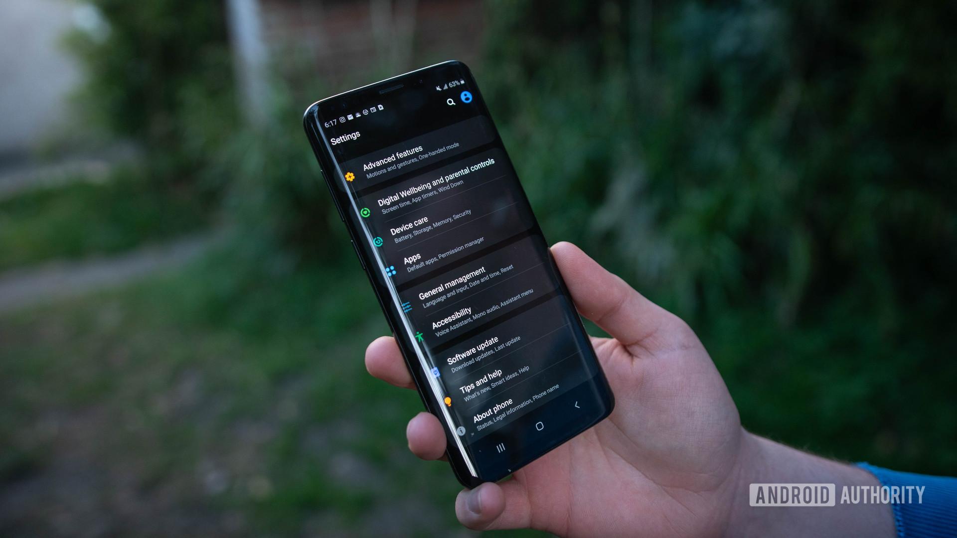 Galaxy S9 Plus Settings menu