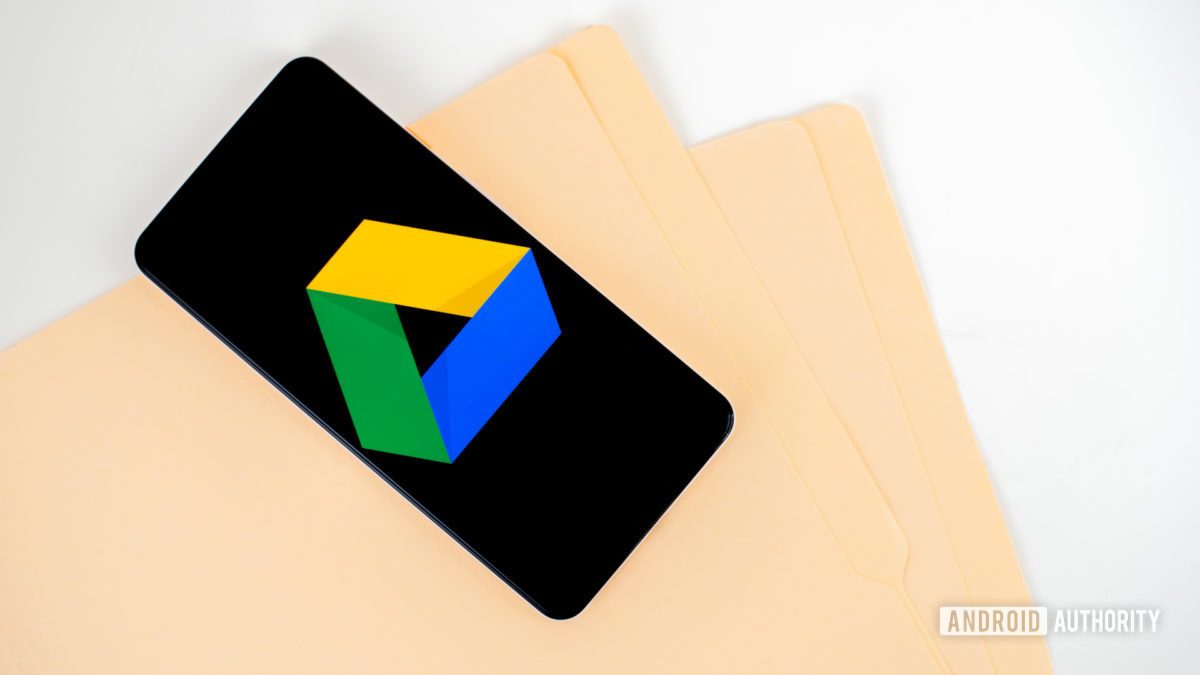Google Drive logo on smartphone stock photo 1