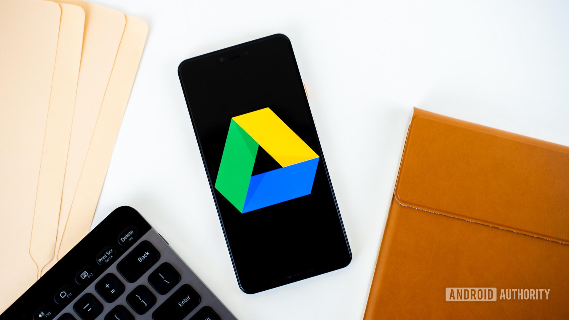Google Drive logo on smartphone stock photo 3
