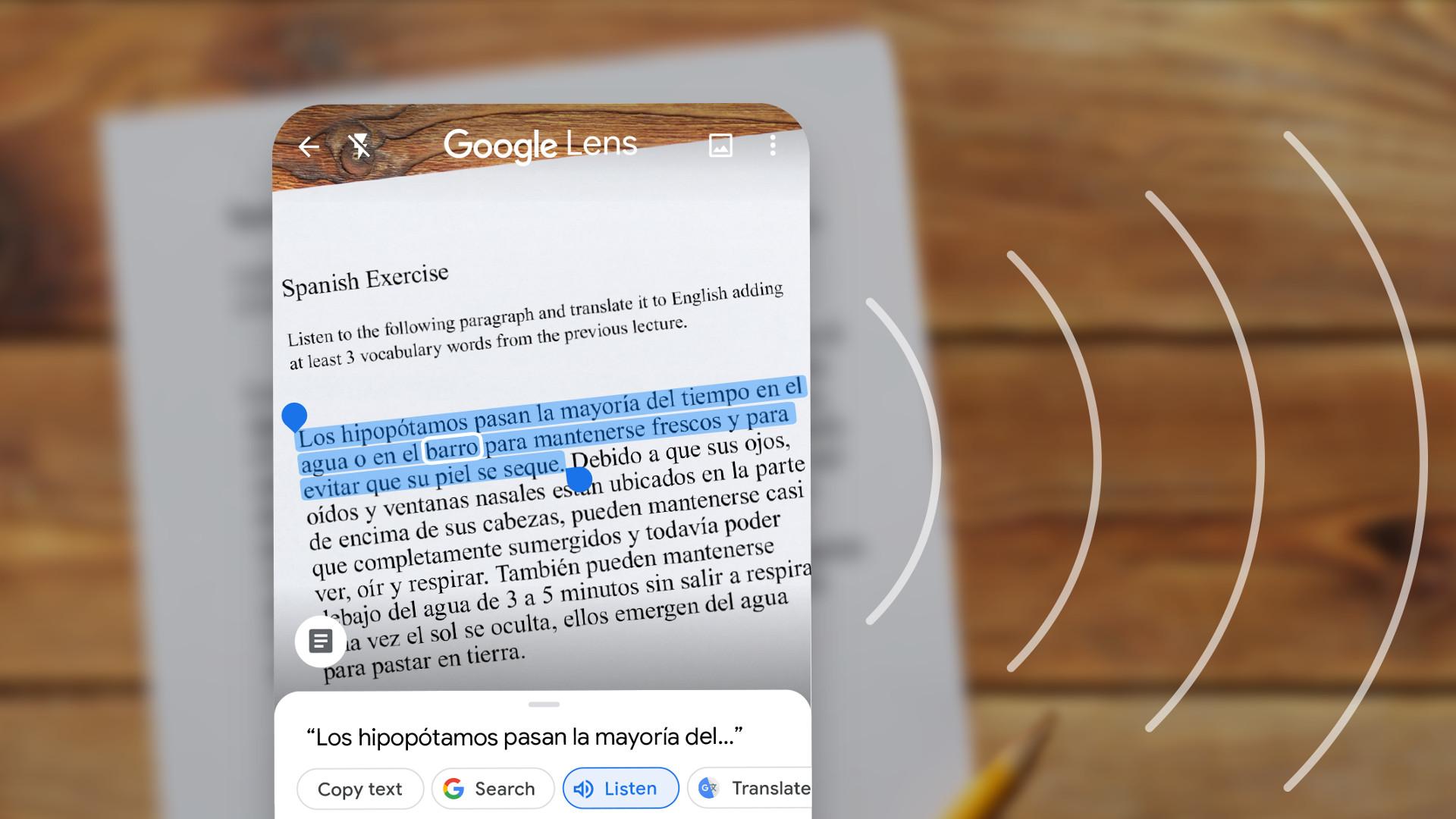 Google Lens Read out loud Spanish