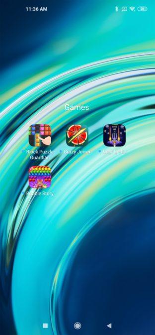 MIUI 11 homescreen games Mi 10