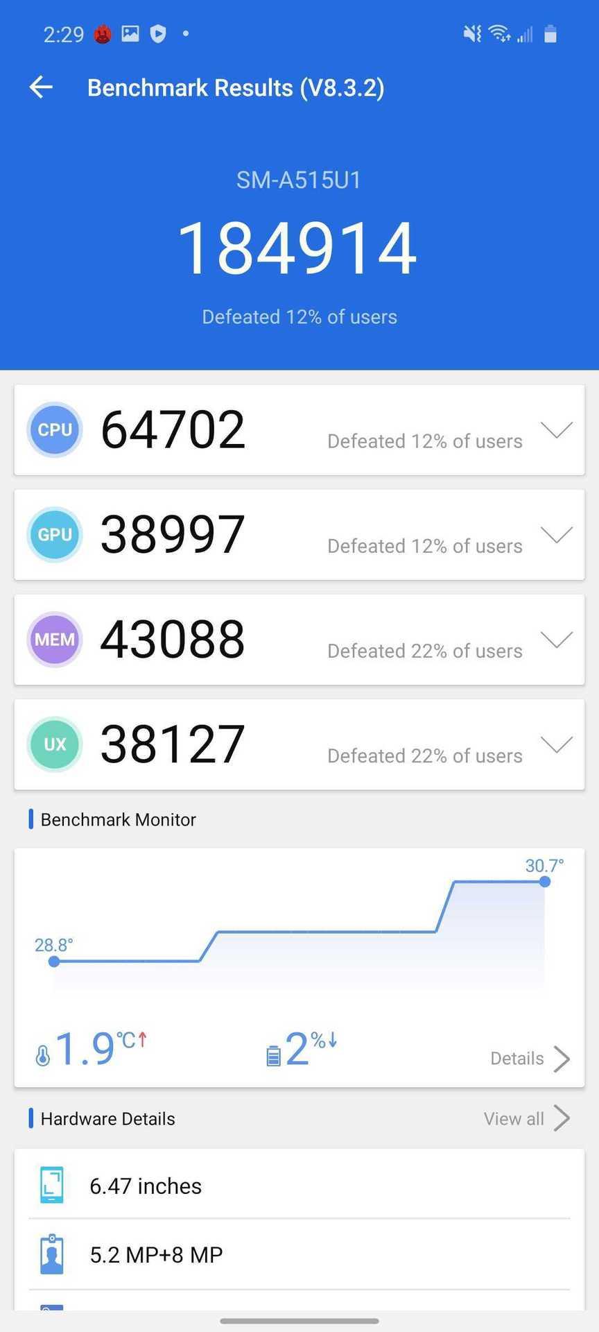 Samsung Galaxy A51 AnTuTu Benchmark