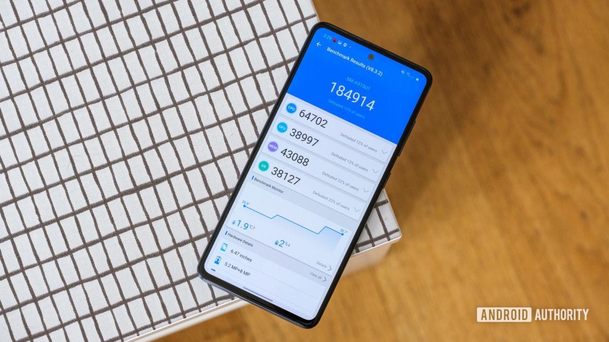 Samsung Galaxy A51 performance on table