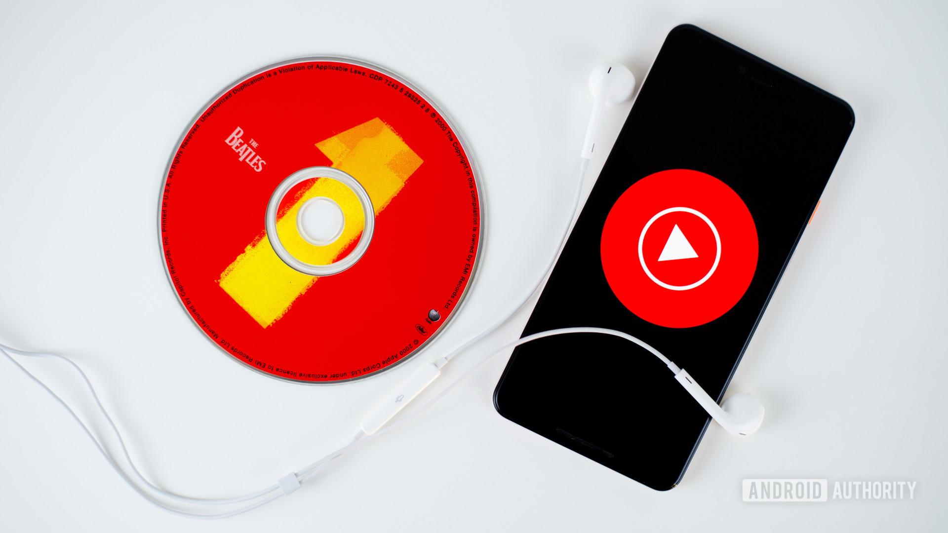 YouTube Music on smartphone stock photo 2