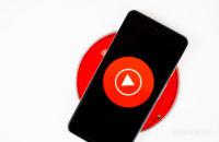 YouTube Music on smartphone stock photo 3