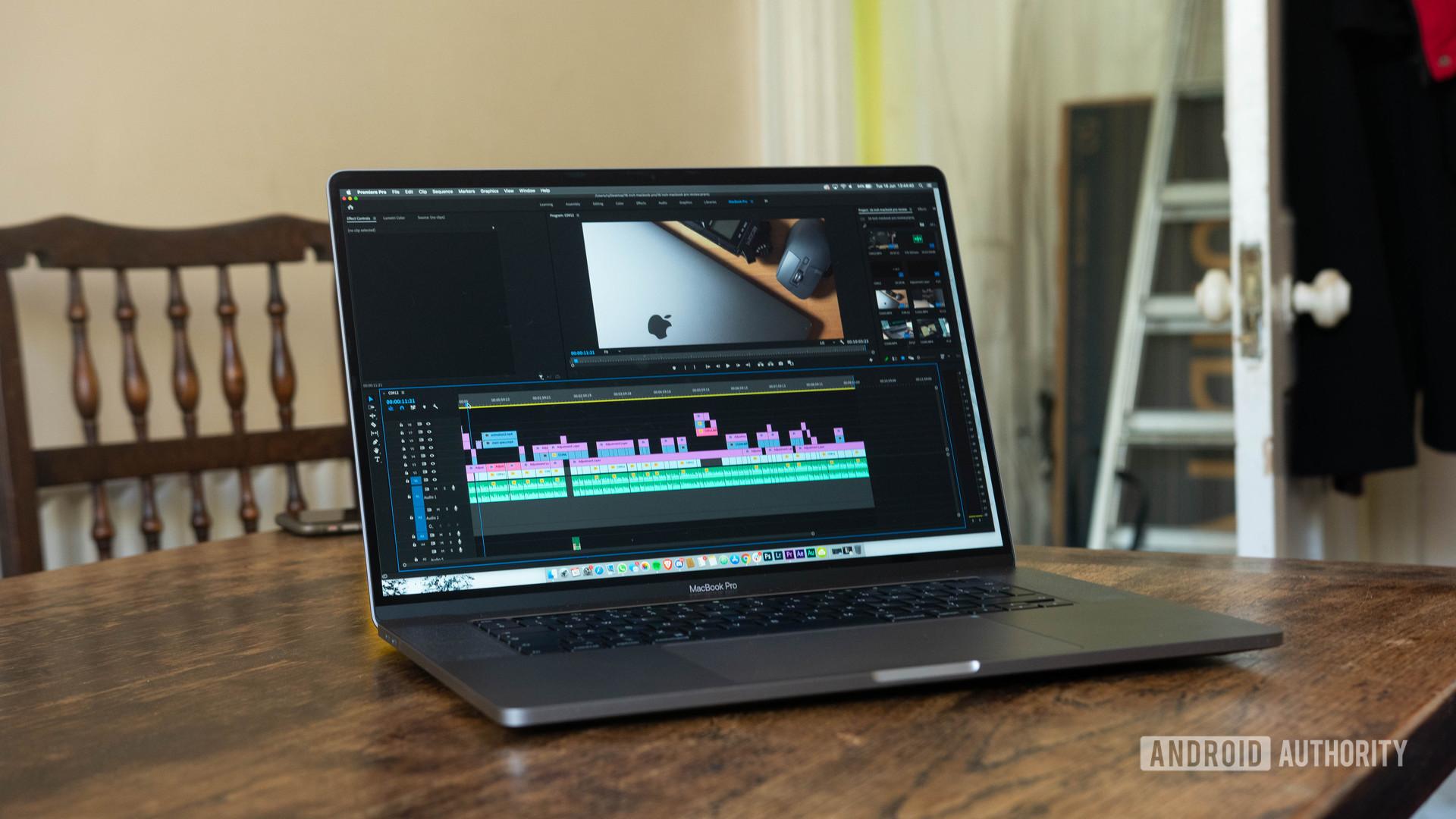 16 inch MacBook Pro Premiere Pro open