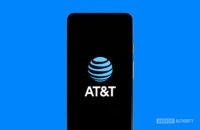 ATT logo on phone stock photo