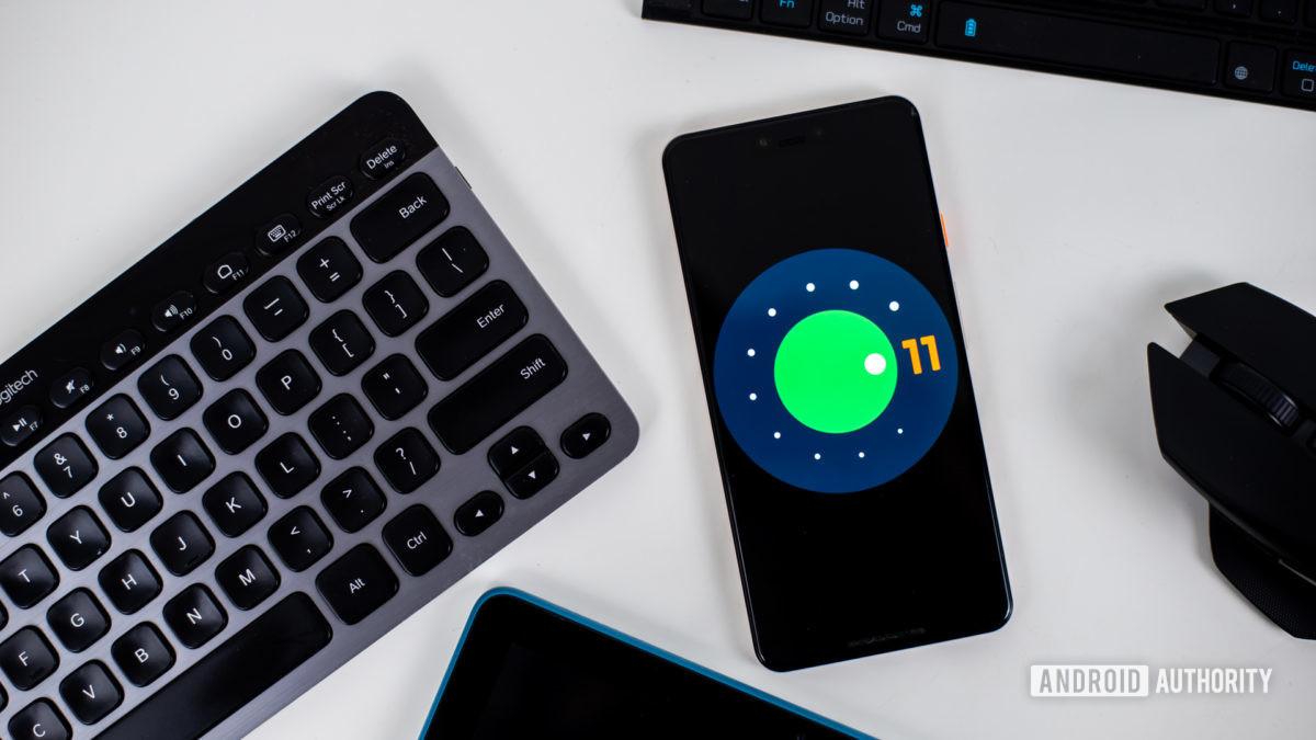 Android version 11 logo stock photo