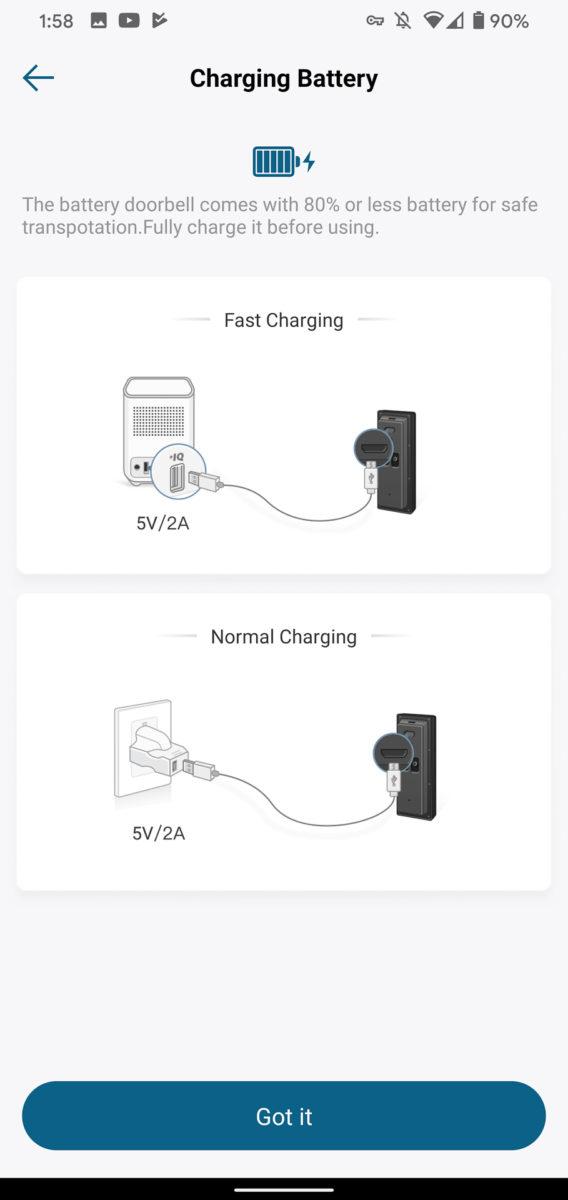 Eufy Video Doorbell charging battery