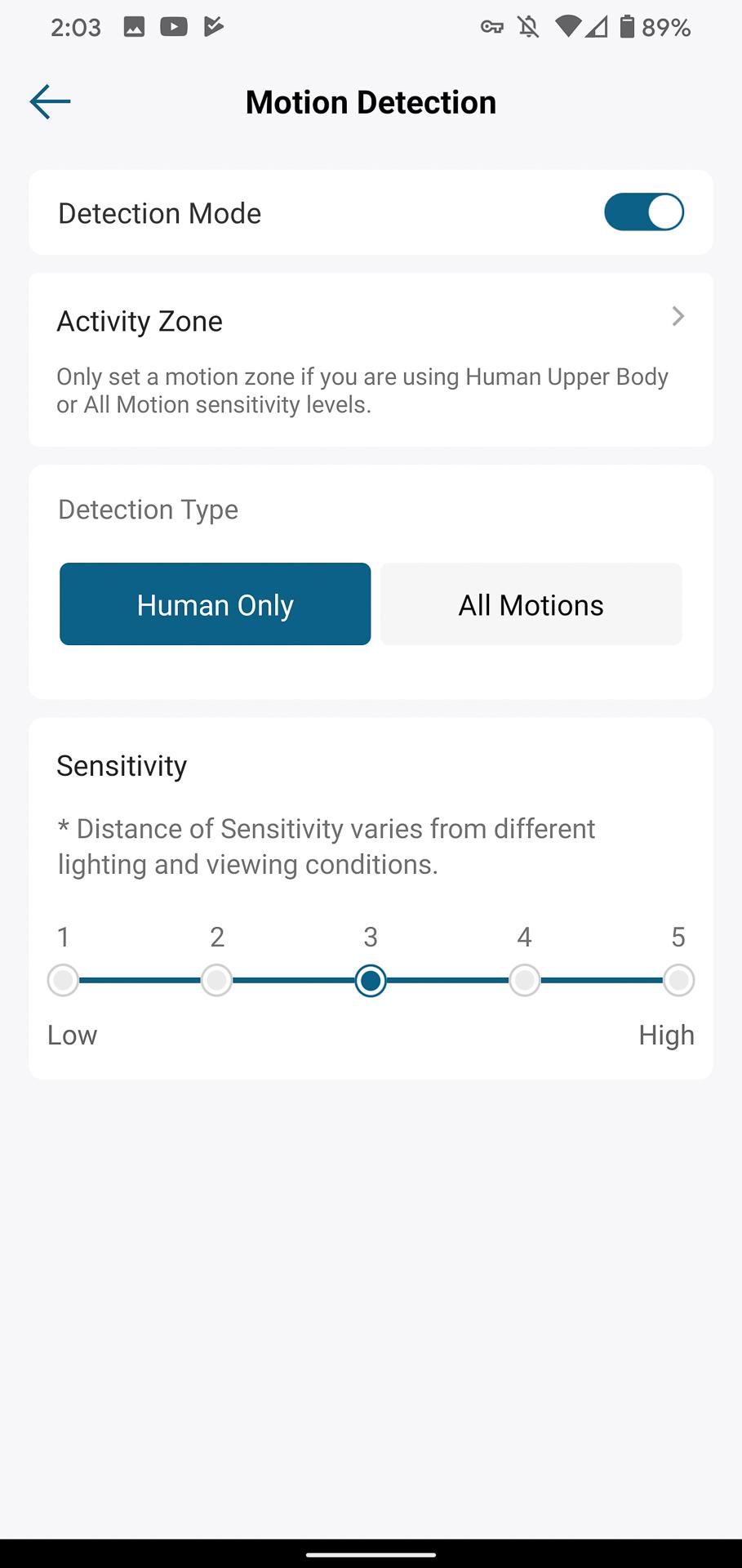 Eufy Video Doorbell motion detetion