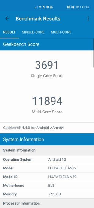 Huawei P40 Pro Plus Geekbench 4 score