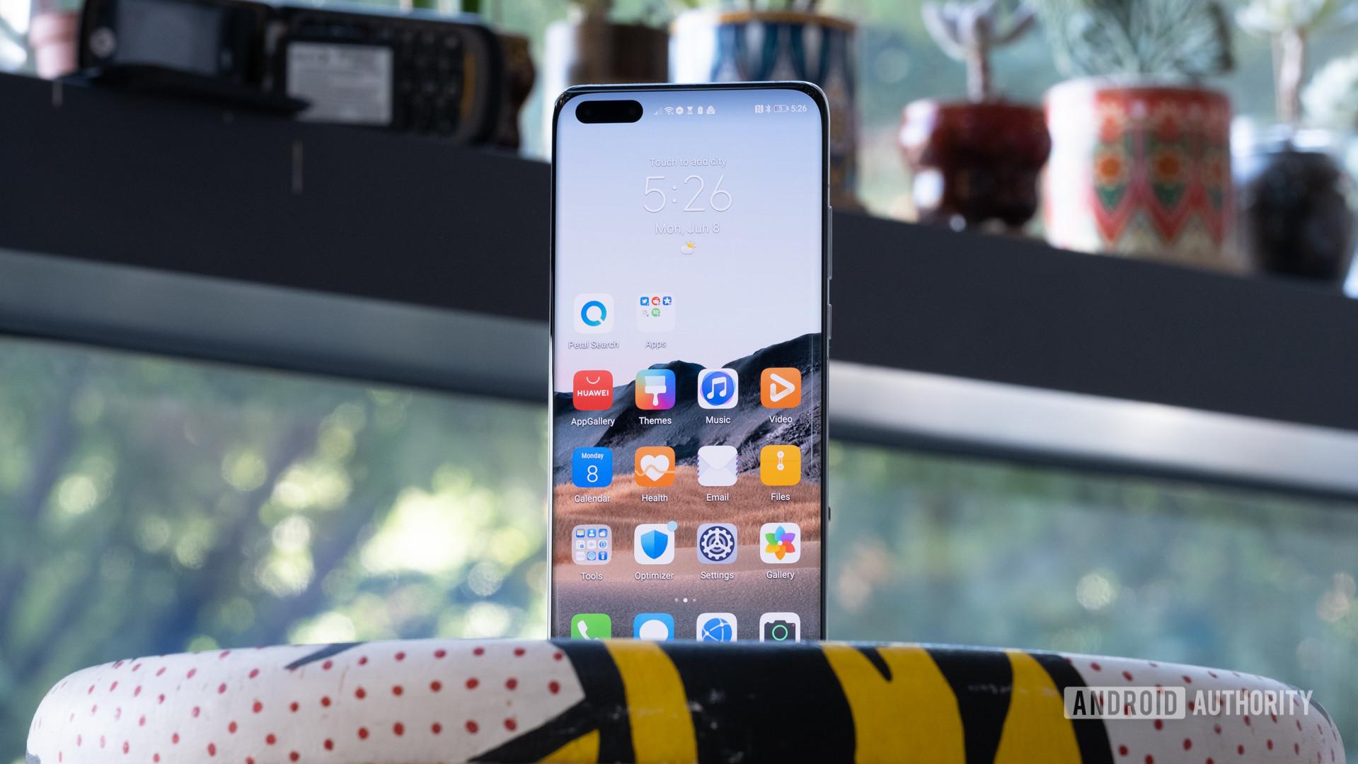 Huawei P40 Pro Plus standing up on table hero shot