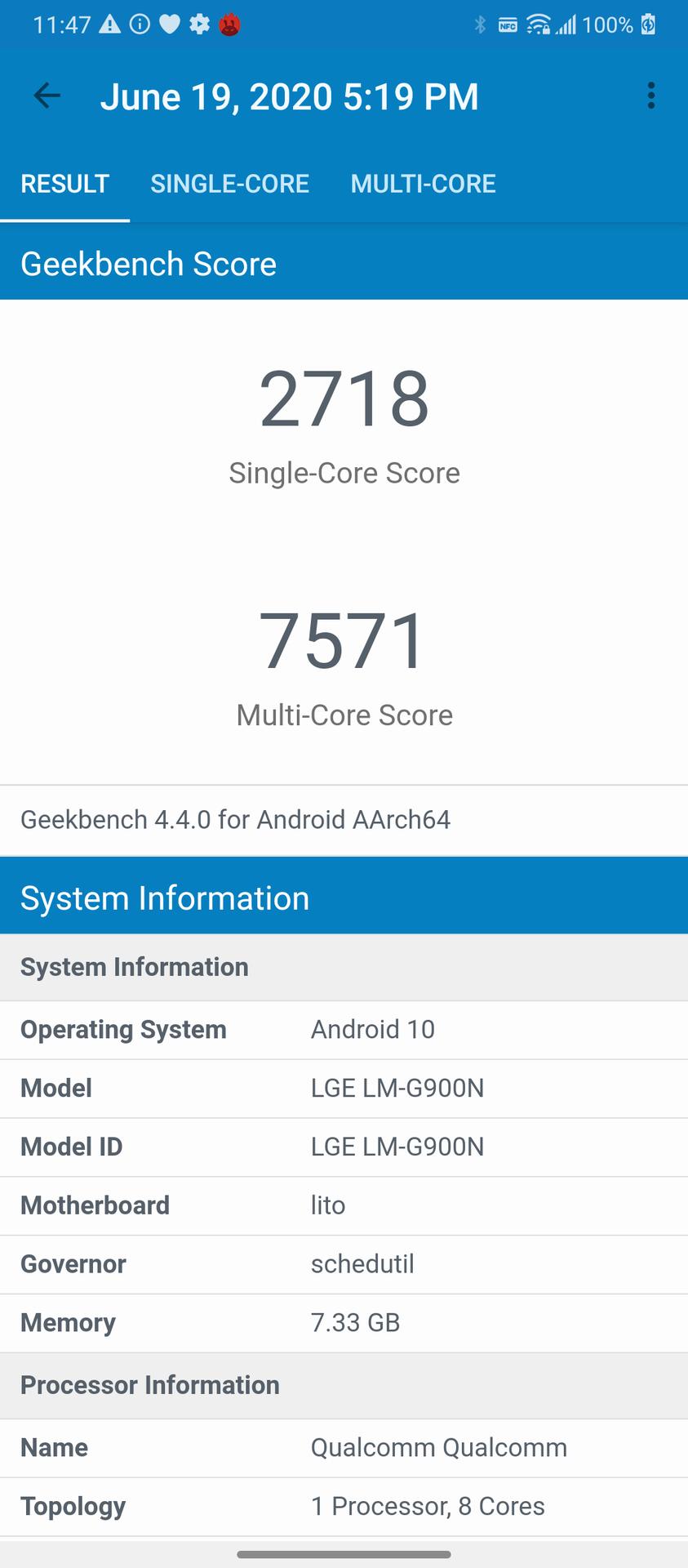 LG Velvet Geekbench 4 score