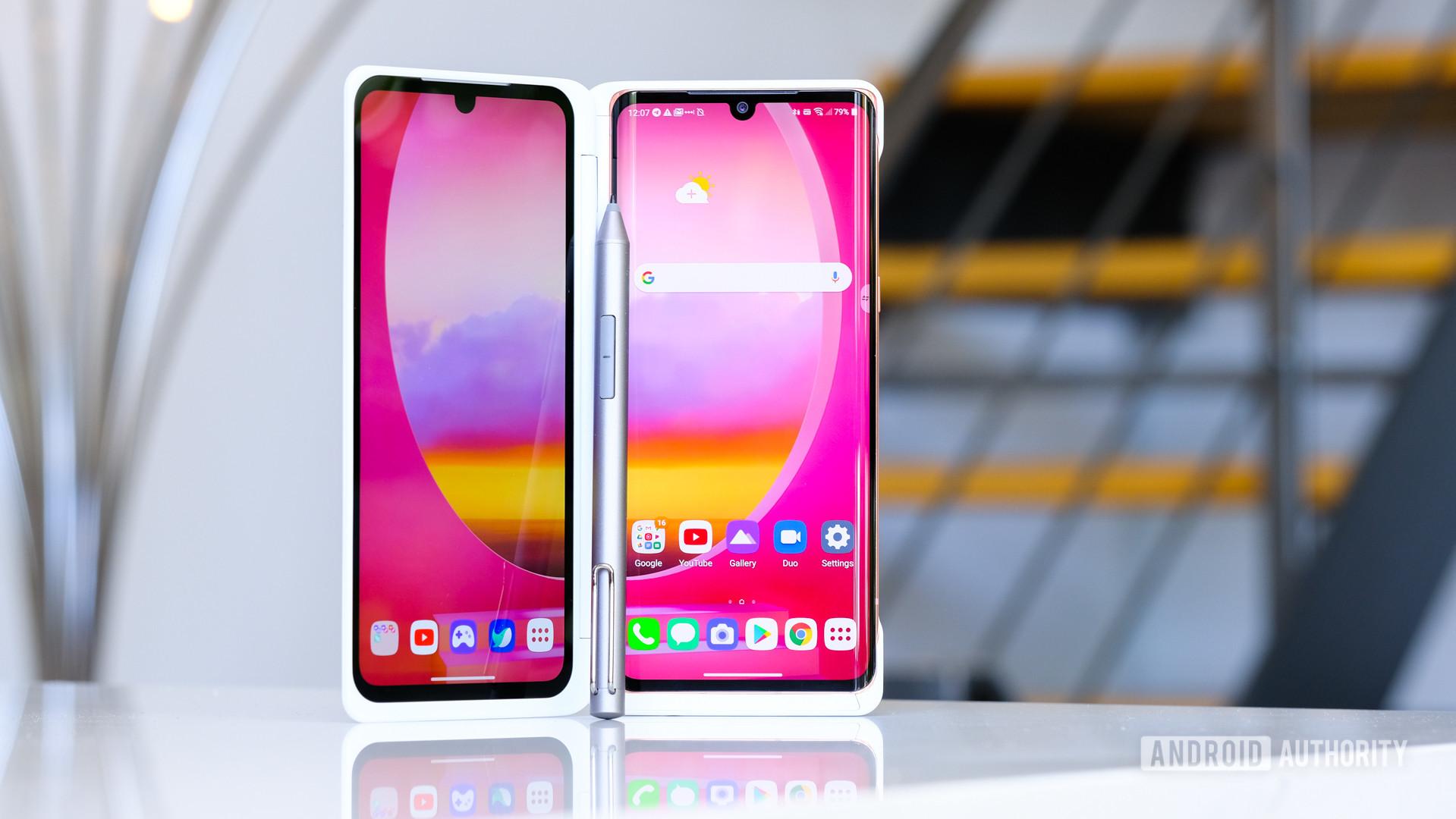 LG Velvet in dual screen standing up