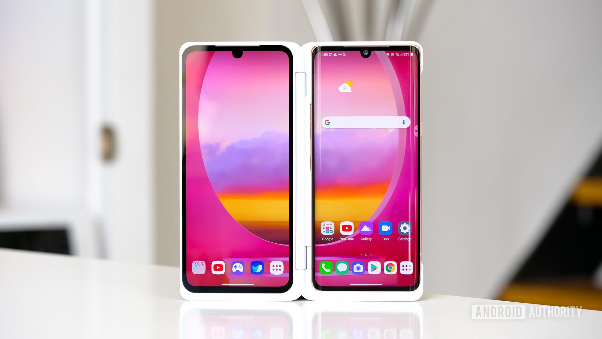 LG Velvet standing up in dual screen