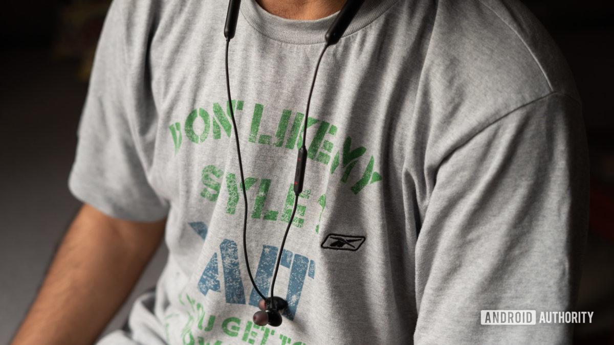 OnePlus Bullets Wireless Z hanging down