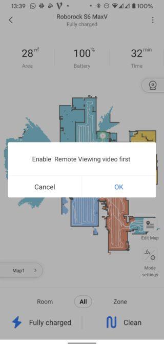 Roborock S6 MaxV robot vacuum app remote viewing