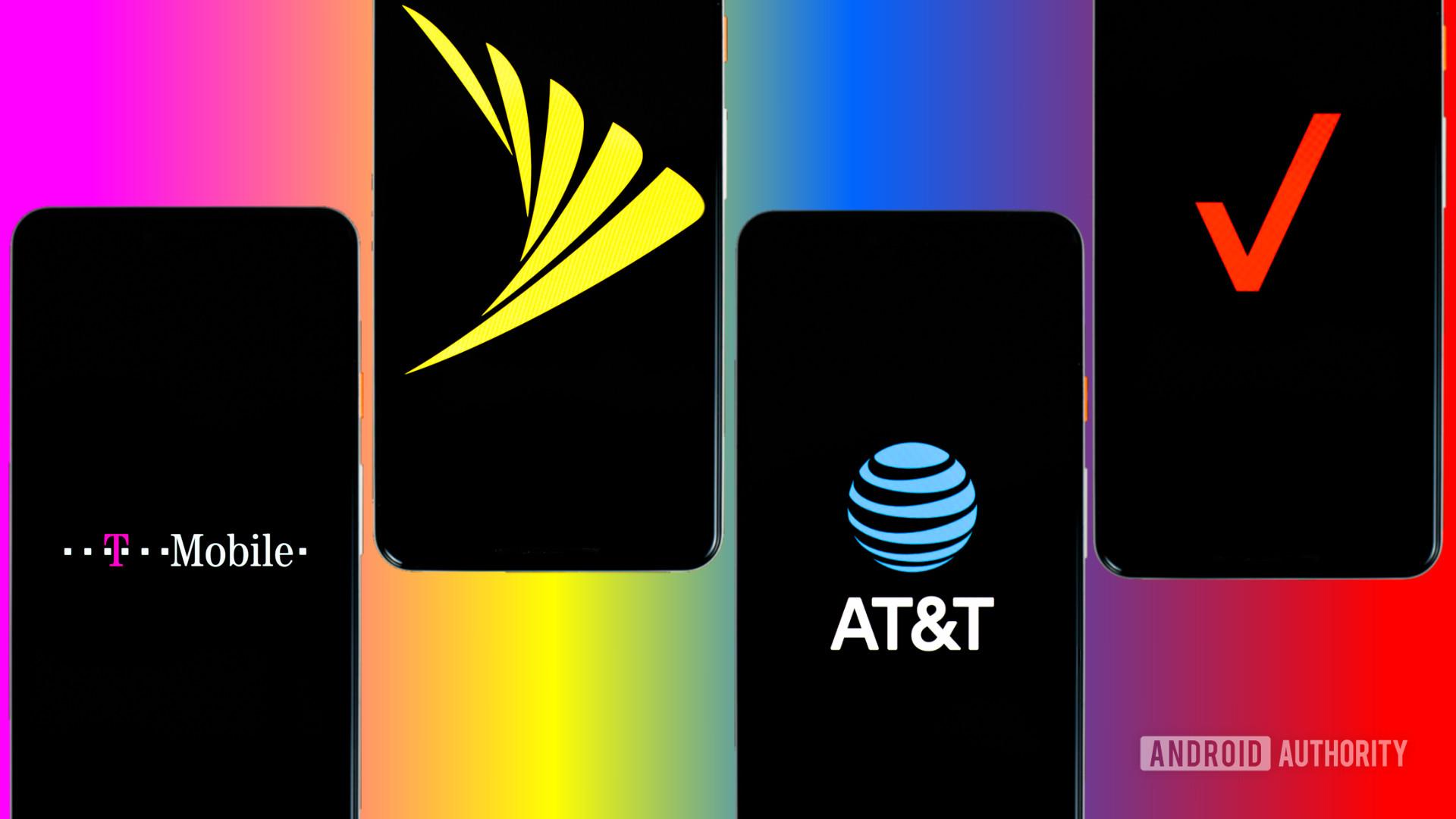 Sprint Verizon T Mobile and Verizon carriers stock photo 3