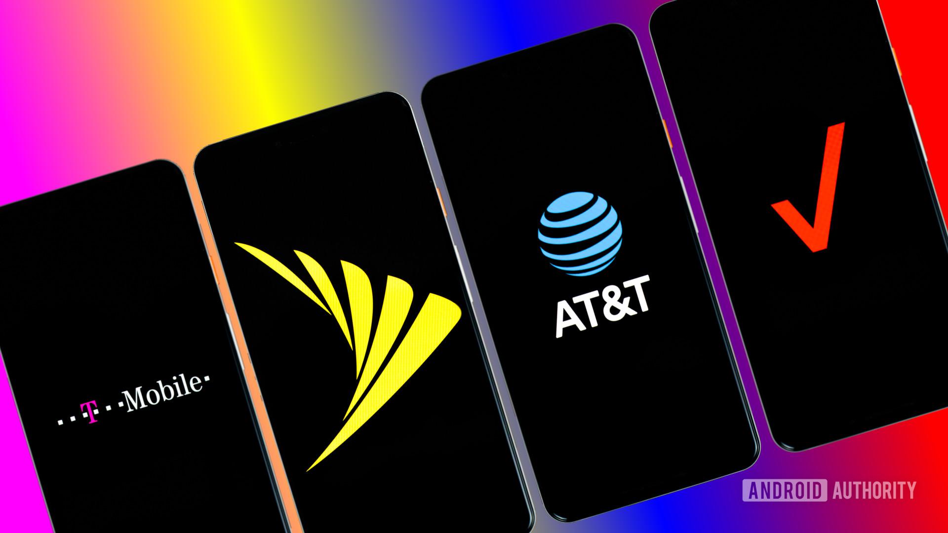 Sprint Verizon T Mobile and Verizon carriers stock photo 4