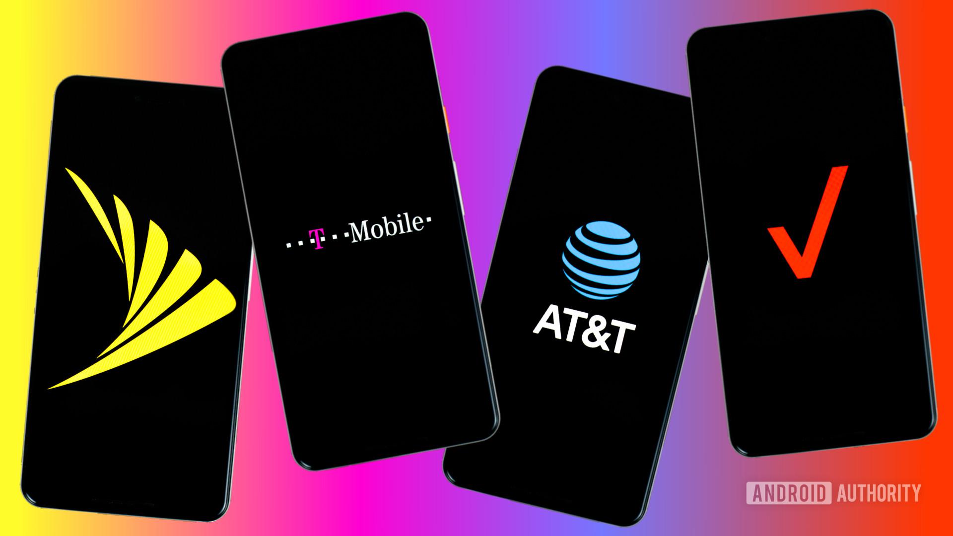 Sprint Verizon T Mobile and Verizon carriers stock photo