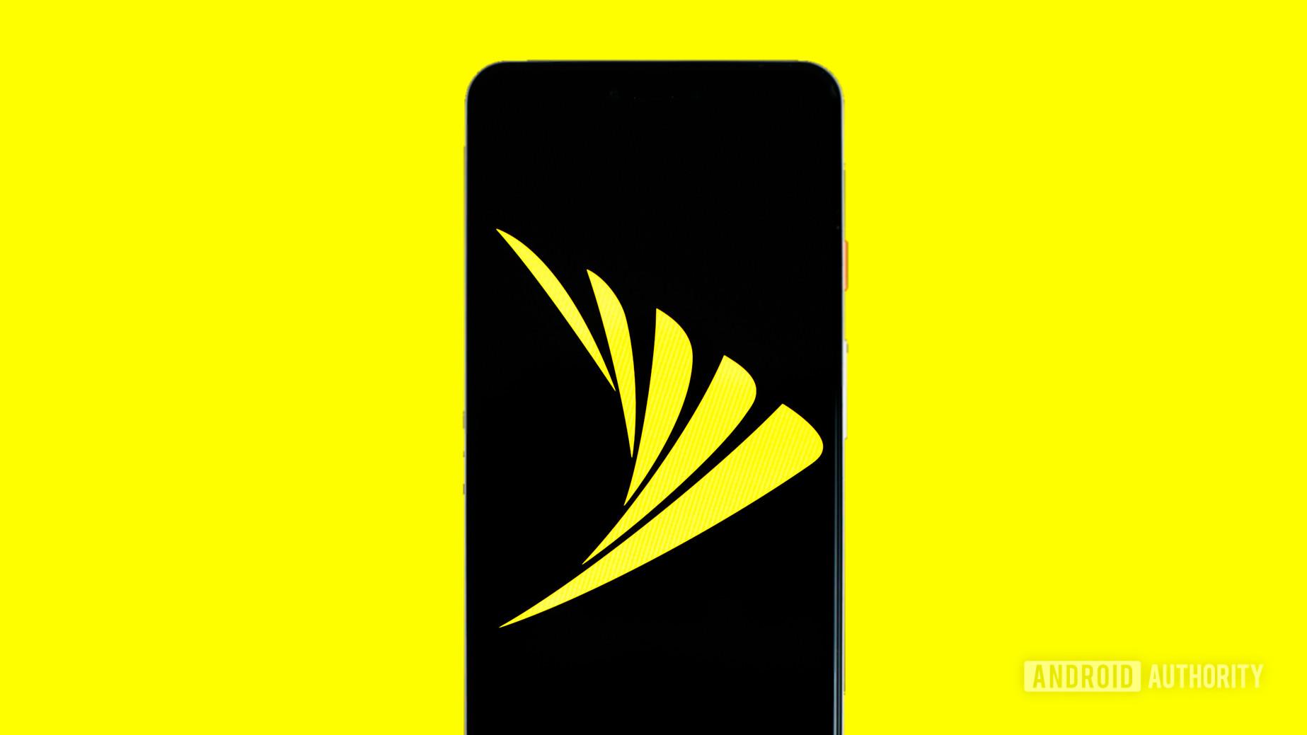 Sprint logo on phone stock photo