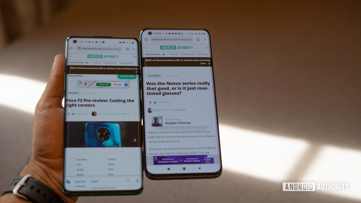 Xiaomi Mi 10 vs OnePlus 8 Pro in hand