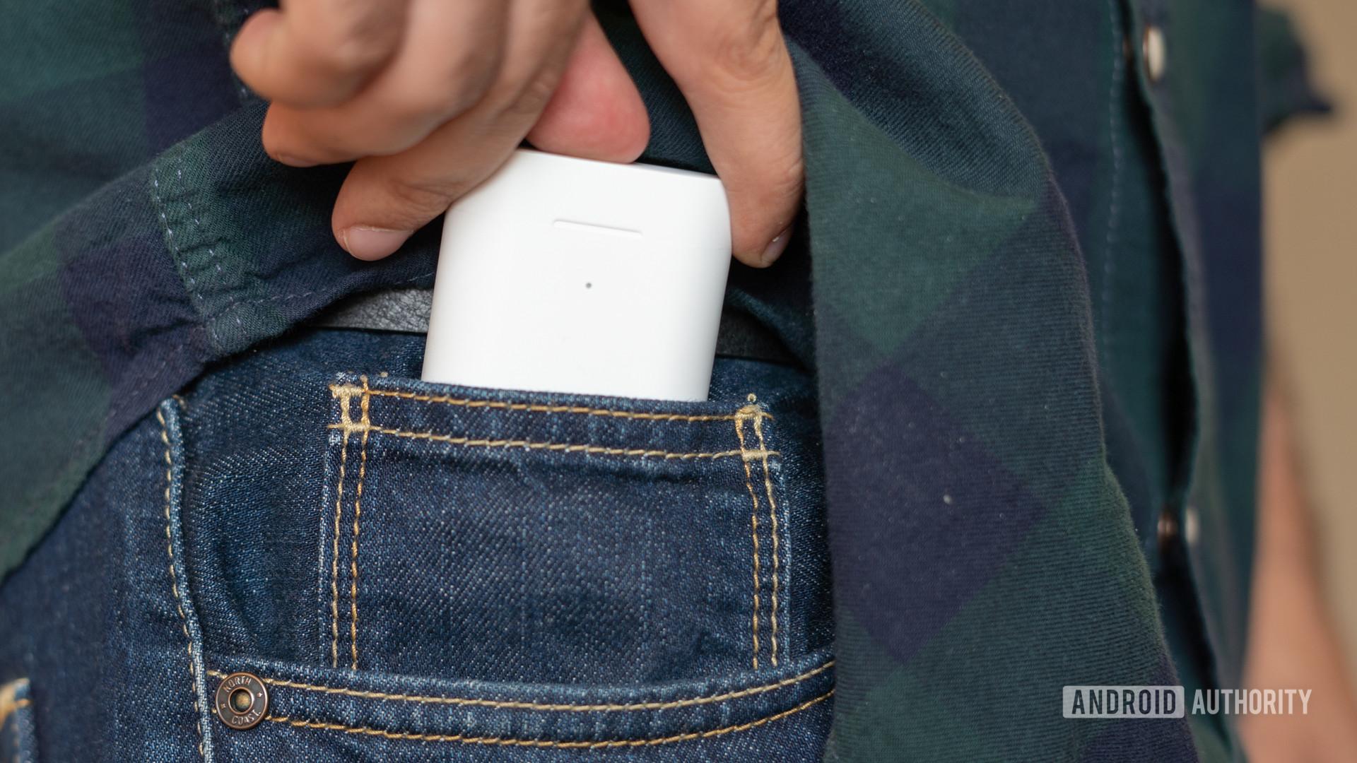 Image of Xiaomi True Wireless Earphones 2 case in jeans pocket