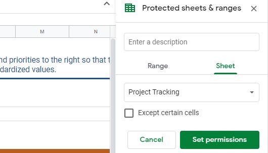 protect sheets option