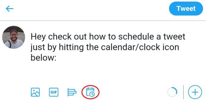 schedule tweet via twitter app 2