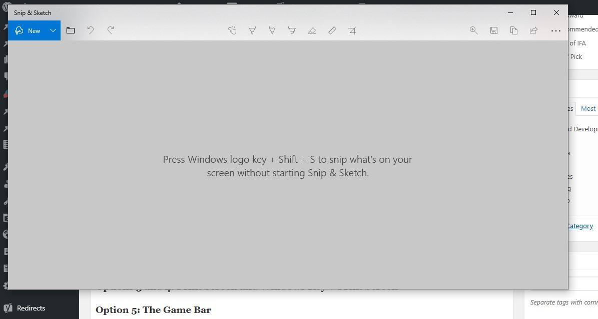Snip & Sketch Screenshot on PC