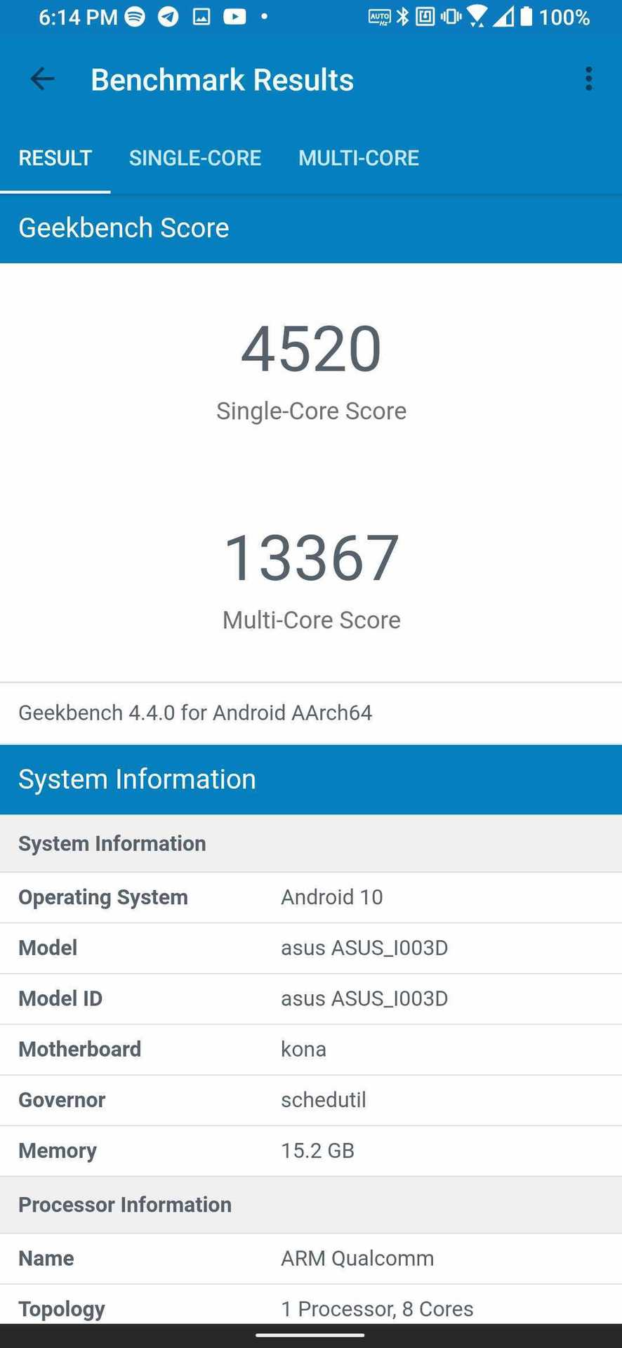 Asus ROG Phone 3 Geekbench 4 results