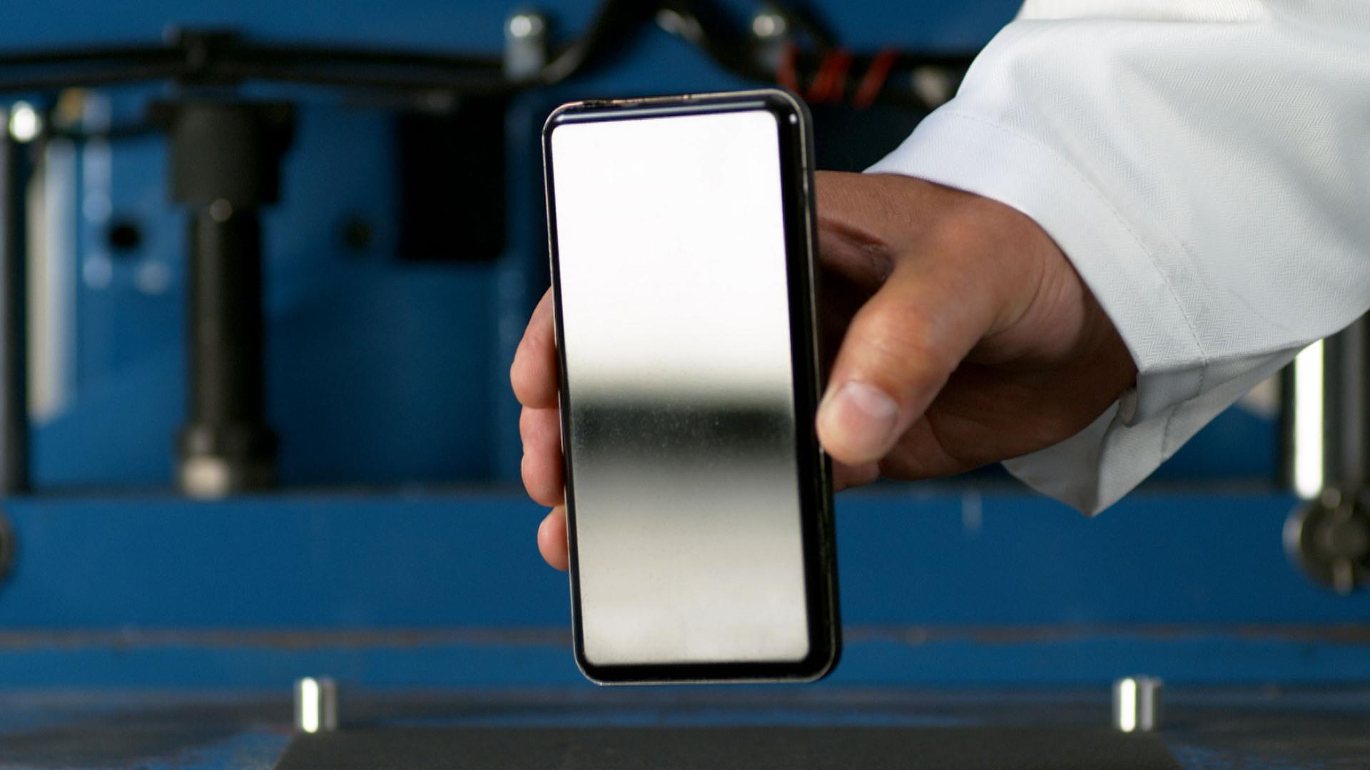 Corning Gorilla Glass Victus display on smartphone puck