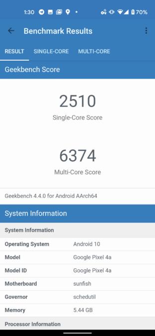 Google Pixel 4a Geekbench 4 Score