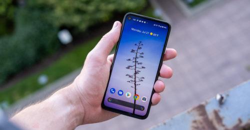 Google Pixel 4a screen in hand 3