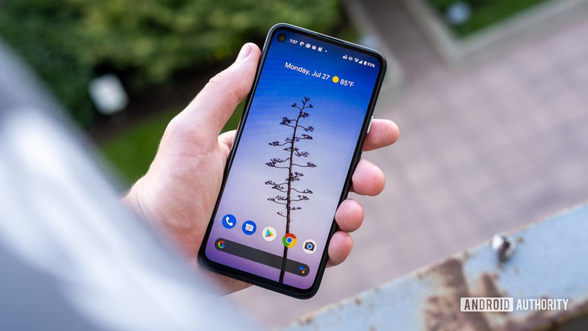 Google Pixel 4a screen in hand 4