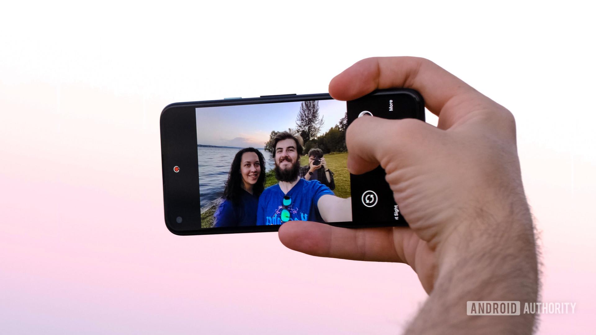 Google Pixel 4a taking a selfie screen