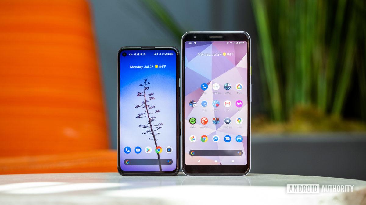 Google Pixel 4a vs Google Pixel 3a backs 2