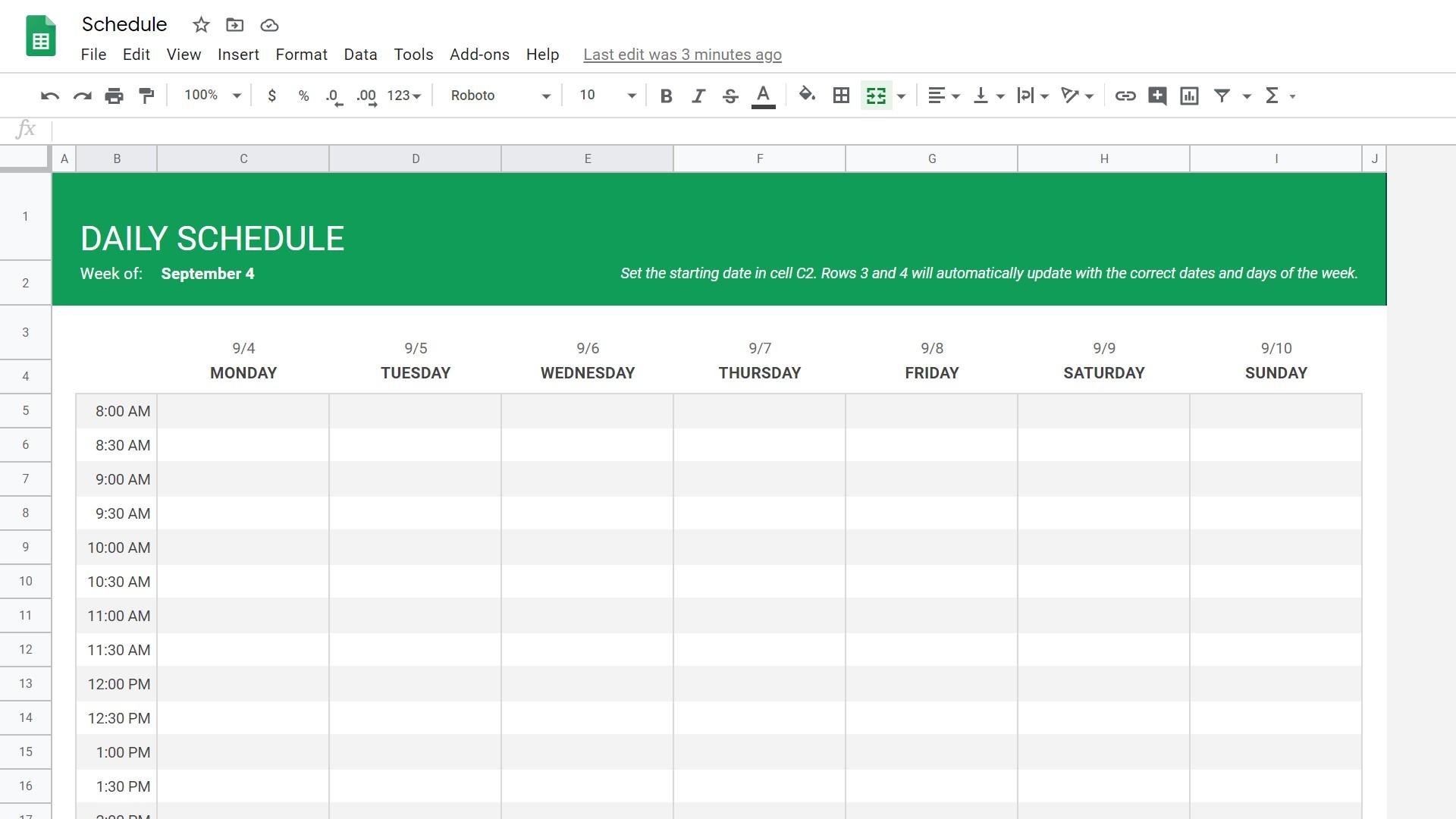 Google Sheets schedule