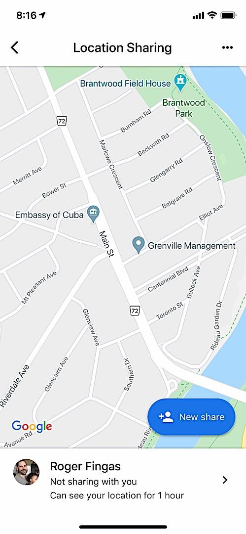 Google Maps location sharing on iOS