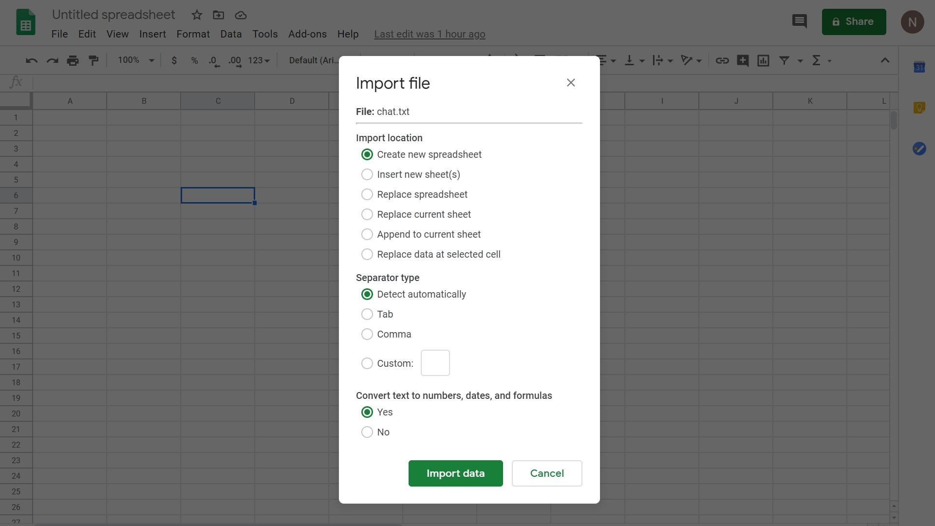 Import data Google Sheets
