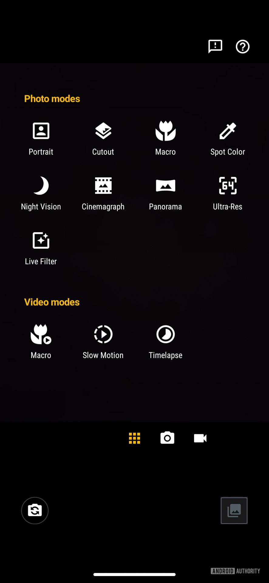 Motorola Moto Edge camera modes
