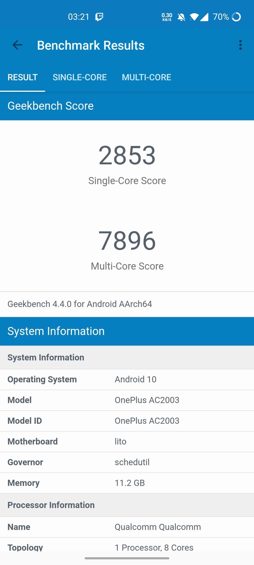 OnePlus Nord Geekbench 4