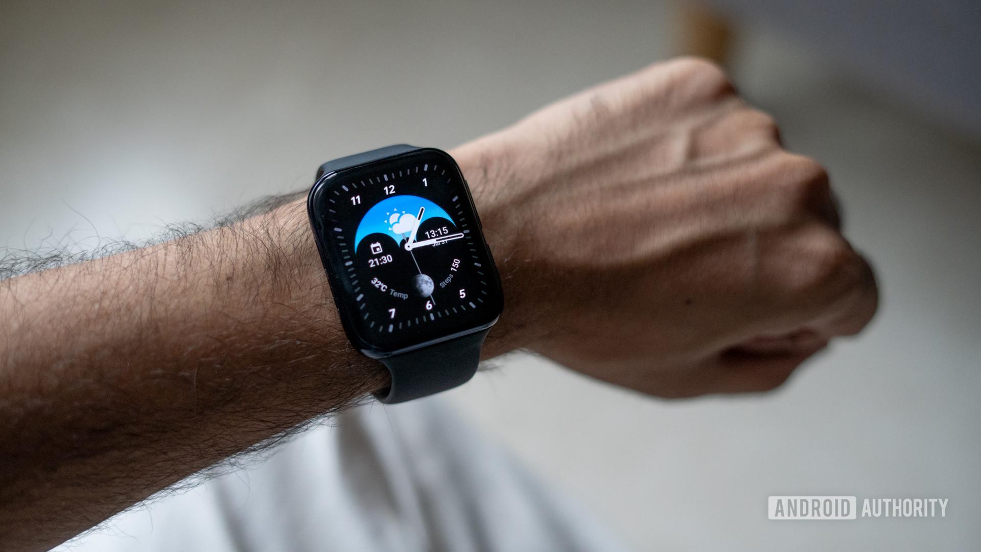 Oppo Watch on wrist
