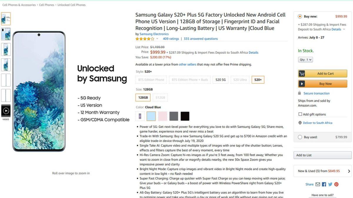 samsung galaxy s20 plus 5g deal amazon