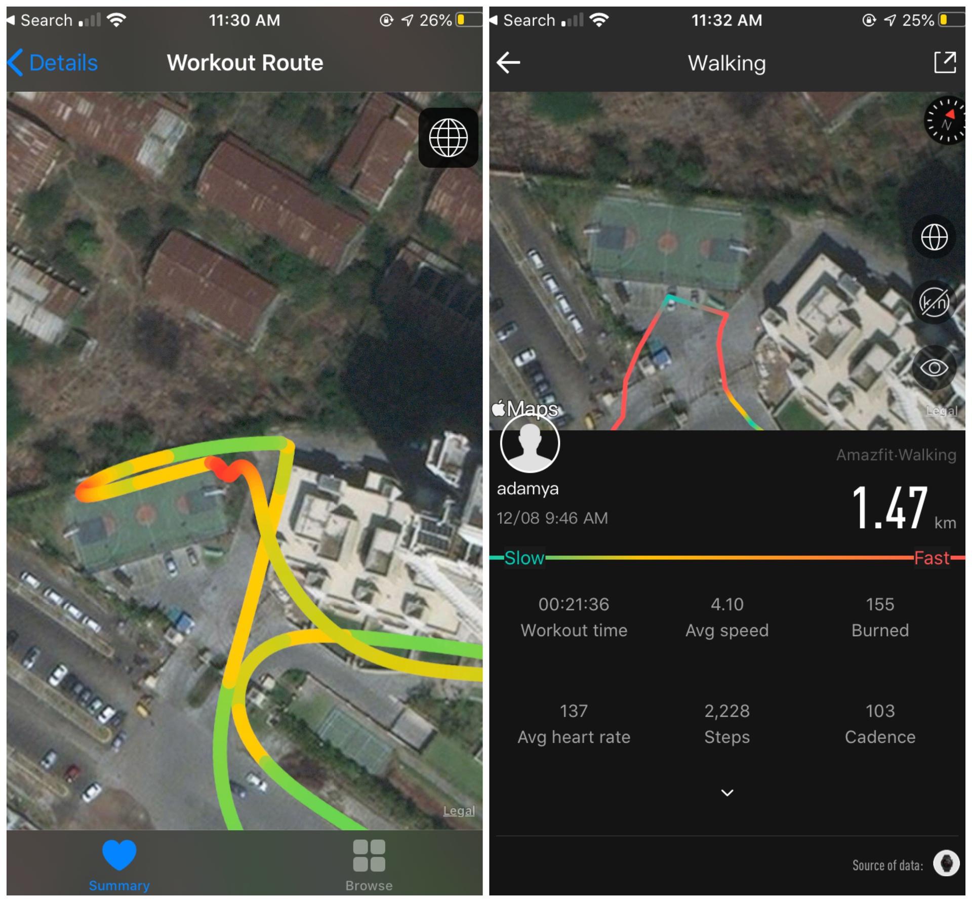 Apple Watch 4 GPS map vs Amazfit Stratos 3 GPS map