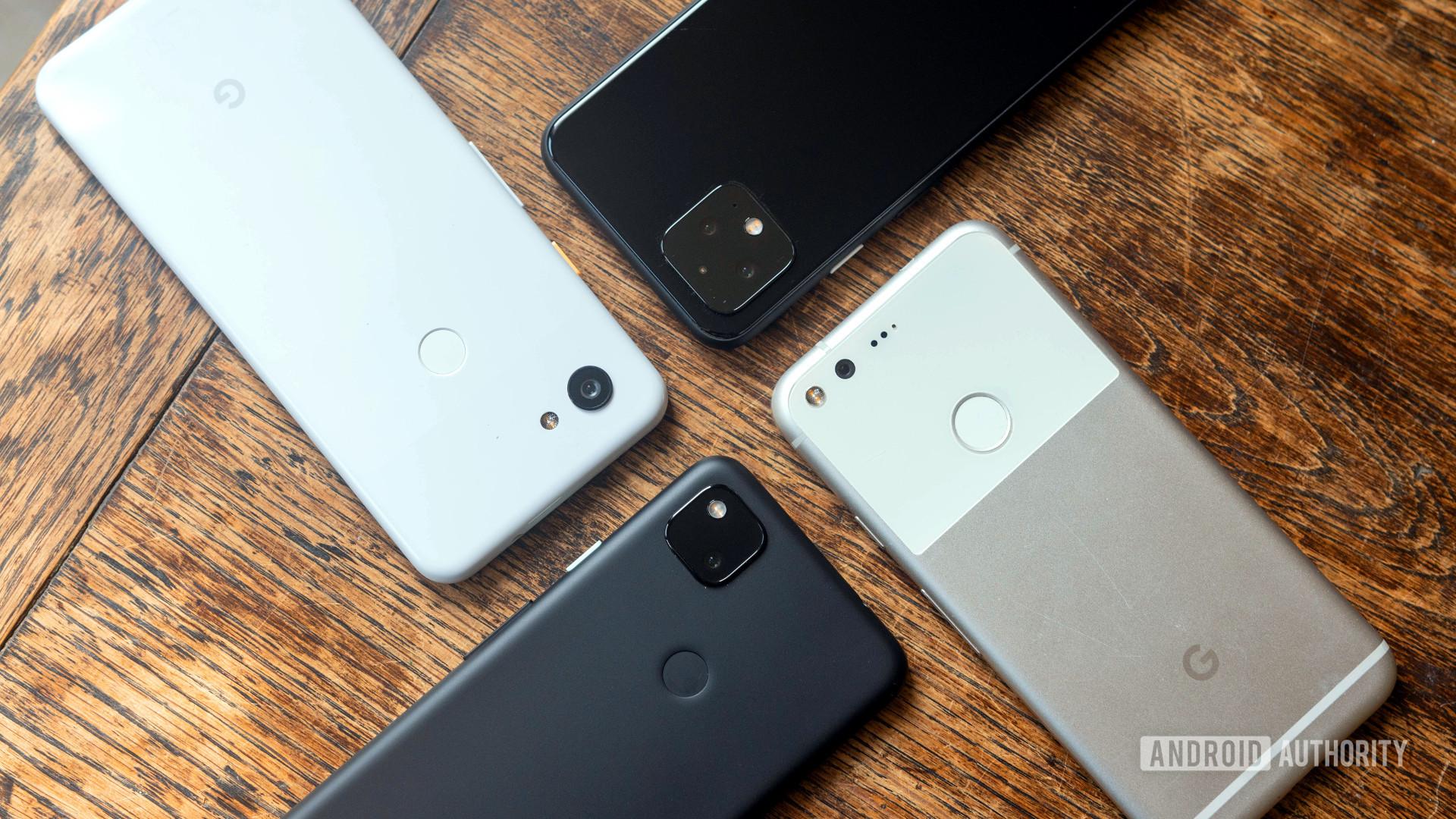 Google Pixel phones side by side